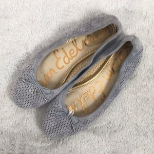 SAM EDELMAN perforated suede leather ballet flats
